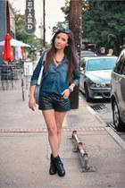 denim Target shirt - leather Blank Denim shorts