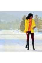 yellow trench coat Black Rivet coat - ruby red stretch soft PERSUNMALL leggings