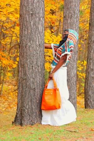 white maxi skirt quicksilver skirt - carrot orange leather Rimen & Co bag
