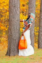 white maxi skirt quicksilver skirt - carrot orange leather Rimen & Co bag