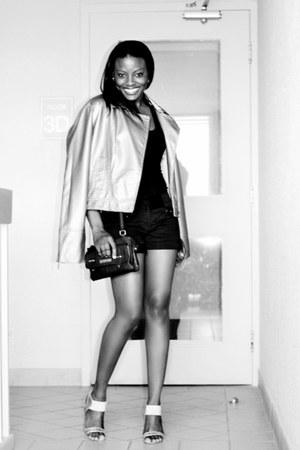 tan metallic Bandolera jacket - black le chateau shorts