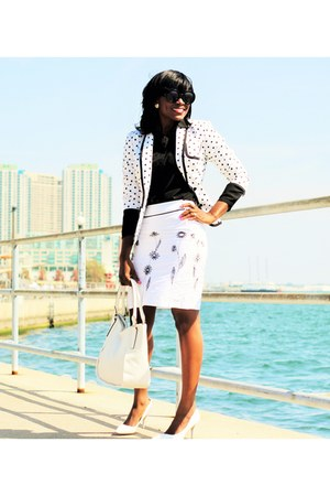 white polka dot Express blazer