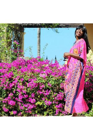 hot pink caftan unknown dress