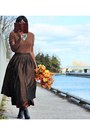 Black-knee-high-unknown-boots-dark-brown-midi-uknown-skirt