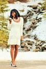 White-sweater-moda-international-dress-white-peep-toe-spring-heels