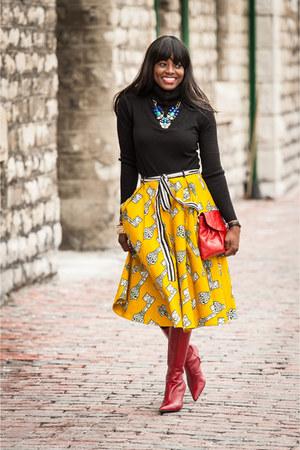 yellow ankara midi Kuwala skirt - red knee high Fornarina boots