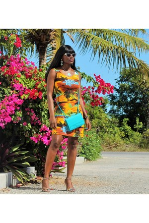 tropical print unknown dress - silver Express shoes