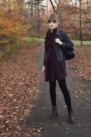 navy denim thrifted jacket - deep purple smock asos dress - black tights