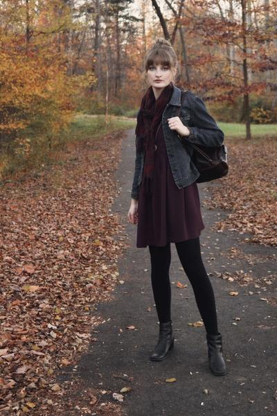navy denim thrifted jacket - deep purple smock asos dress - black tights