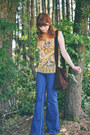 Navy-denim-thrifted-jeans-gold-mod-vintage-top