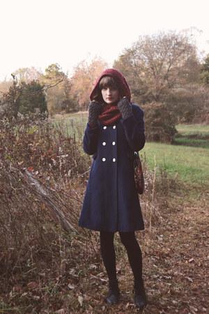 navy wool vintage coat - crimson infinity scarf