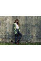 dark khaki khaki CNdirect cardigan - gray dotted Pull & Bear jeans