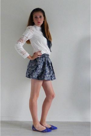 blue mini skirt Choies skirt - ivory embroidered DressLink top