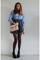sky blue floral vintage shirt - peach satchel Zara bag
