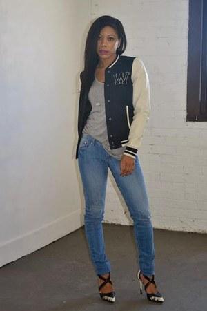 black varsity H&M jacket - heather gray soft cotton Ark & Co t-shirt