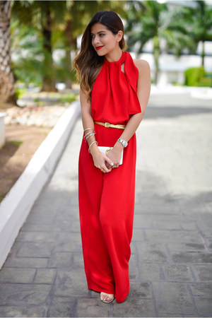 red jumpsuit Zara jumper