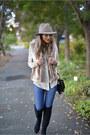 Black-ivanka-trump-boots-blue-jeans-joes-jeans-jeans-camel-fedora-jcrew-hat