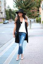 ann taylor vest - Zara jeans - Forever 21 hat - Zara bag - Zara top
