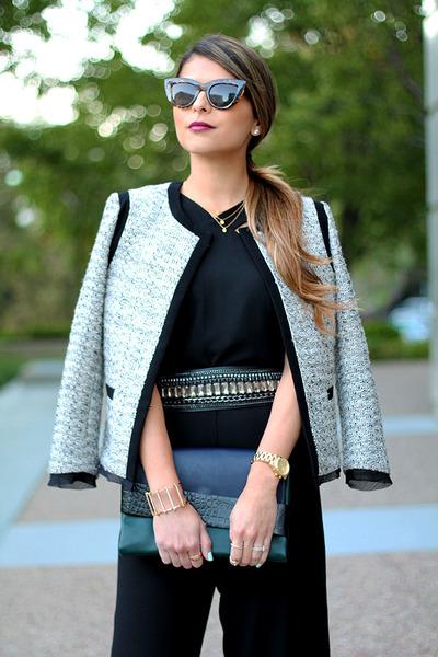 jumpsuit Forever 21 pants - ann taylor jacket - clutch Zara bag