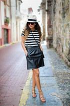 black faux leather Loft skirt - cream panama hat JCrew hat