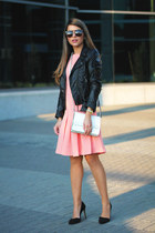coral coral French Connection dress - black biker H&M jacket