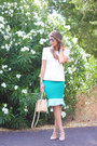 Neutral-leather-valentino-shoes-turquoise-blue-guess-dress