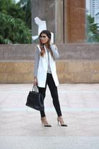 white white vest Zara vest - black black Joes Jeans jeans