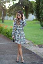 teal printed Zara dress - heather gray silver Louis Vuitton belt
