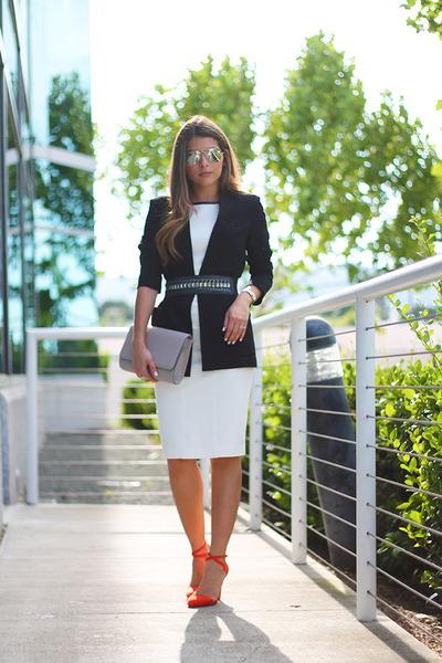 black 100 polyester Theory blazer - white white Cache dress