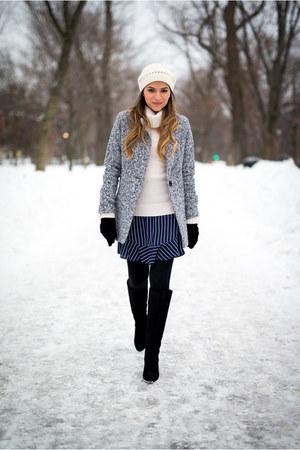 heather gray gray Sheinside coat - navy striped JCrew skirt