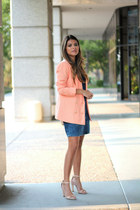 peach Forever 21 blazer - denim dress Topshop dress - ankle strap Zara sandals