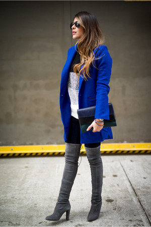 blue cobalt Sheinside coat - heather gray stuart weitzman boots