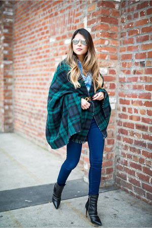 navy plaid Sheinside scarf