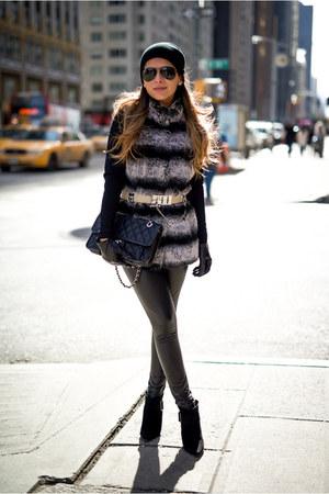 charcoal gray faux fur Rachel Zoe vest - black faux leather Topshop leggings