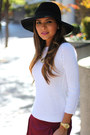 Black-forever-21-hat-white-zara-sweater-heather-gray-gucci-bag