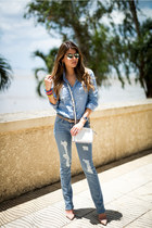 light blue ripped DSTLD jeans - light blue chambray J Crew shirt