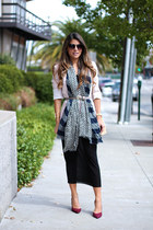 printed banana republic scarf - Nine West shoes - Forever 21 dress