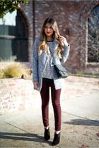 silver gray Sheinsidecom coat - black leopard print Loft top