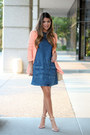 Denim-dress-topshop-dress-peach-forever-21-blazer-ankle-strap-zara-sandals