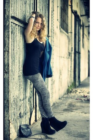 heather gray Tally Weijl leggings - teal Atmosphere blazer - black deezee wedges