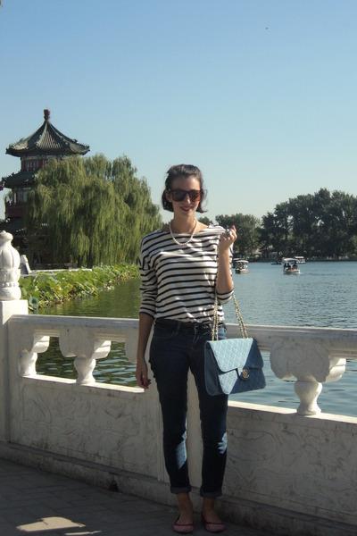 Zara shirt - H&M jeans - denim Chanel bag - Ray Ban sunglasses - Zara flats