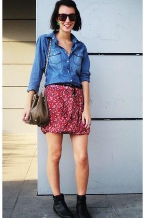 red floreal Zara skirt - black leather H&M boots - brown Mango bag