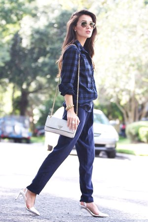 navy blue plaid Gap shirt - navy blue silk Joie pants