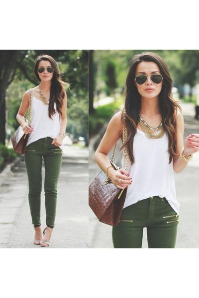 Olive Hu0026M Jeans Alligator Vintage Bags White Tank Hu0026M Tops   u0026quot;Olive u0026 Gold u0026quot; by TheHanhSolo ...