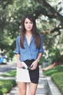 Blue-chambray-madewell-shirt-black-black-and-white-urban-outfitters-skirt