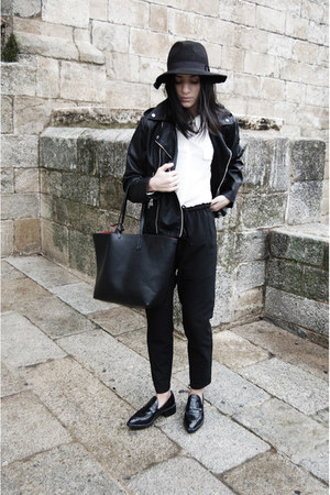 black leather Mango jacket - black Zara shoes - black Stradivarius hat