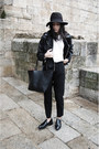 Black-zara-shoes-black-stradivarius-hat-black-leather-mango-jacket