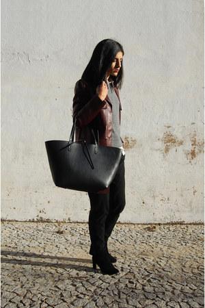black Stradivarius boots - black Zara jeans - ruby red leather Zara jacket