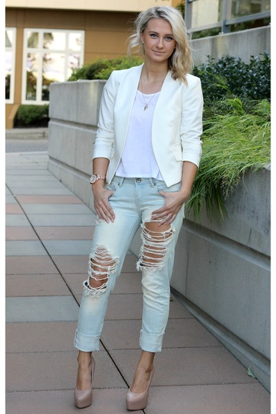 White Blazer Forever 21 Jackets, Love Culture Jeans, White Tee ...