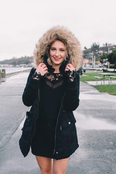 faux fur coat Forever 21 coat - ASTR dress - Forever 21 heels
